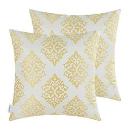CaliTime Pack of 2 Soft Jacquard Throw Pillow Covers Cases f