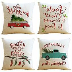 WOMHOPE Throw Pillow Covers Cases Christmas Red Truck Car Tr