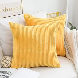 Home Brilliant Throw Pillow Covers Decorative Striped Velvet