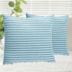 Yeadous Throw Pillow Covers, Jacquard Striped 100% Cotton Cu