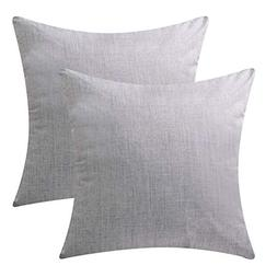 DEZENE Throw Pillow Covers,Set of 2 Natural Linen Look Fabri