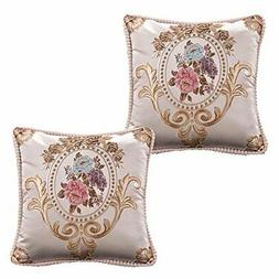 WOMHOPE Throw Pillow Covers Victorian Style Jacquard Covered