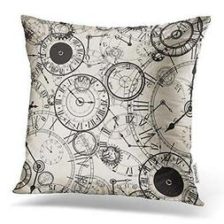 Accrocn Throw Pillow Covers vintage Clock pencil painting pr