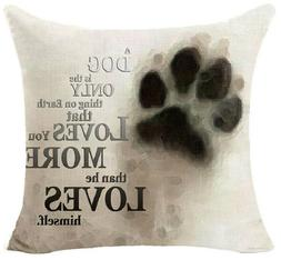 Throw Pillow - Dog Loves You More Paw Print - Completed With