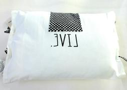 "Rae Dunn Throw Pillow ""LIVE"" Gingham Tie"