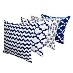 Throw Pillows Cover Set Blue and White Howarmer Square Cotto