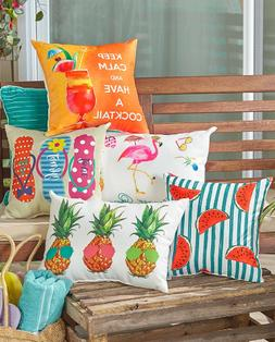 Throw Pillows For Couch Sofa Patio Outdoor Pink Flamingo Wat