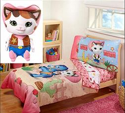 Toddler Bedding Sets Girls 4 Pieces with Pillow Plush Stuffe