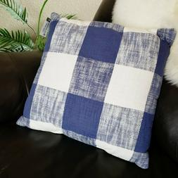 Threshold Toss Throw Pillow Navy Blue White Checkered Buffal