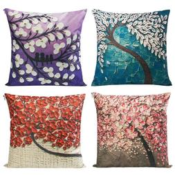 Mecor Set of 4 Tree Oil Painting Decorative Throw Pillow Cov