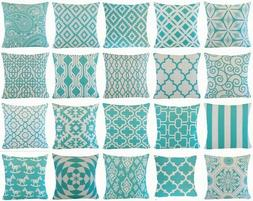 Turquoise Blue Premium Throw PILLOW COVER Sofa Couch Vintage