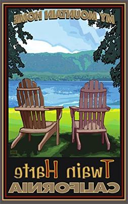 Twain Harte, California Adirondack Chairs Lake Travel Art Po