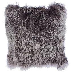 SLPR Two-tone Snow Top Effect Lamb Fur Throw Pillow Cover  |