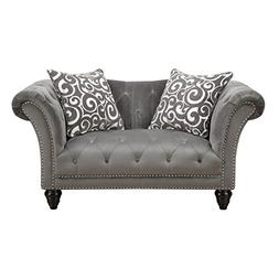 Emerald Home Hutton II Thunder Bella Gray Loveseat, with Pil