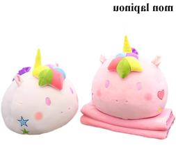 unicorn plush <font><b>pillow</b></font> with blanket 2 in <