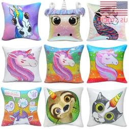 Unicorn Printed Mermaid Sequins Pillow Case Cushion Cover Th