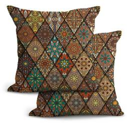 US SELLER, 2PCS decorative throw pillow covers ethnic mandal