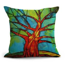 US SELLER- decorative throw pillow case for bed tree of life