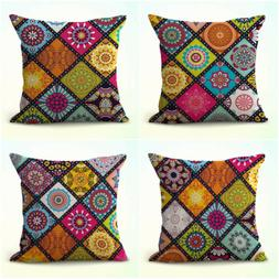 US Seller- set of 4 mandala patchwork cushion covers pillow