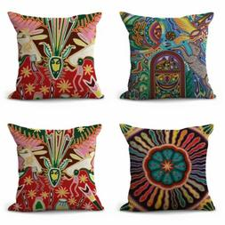 US SELLER- set of 4 throw pillow cover Huichol Mexican triba