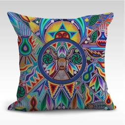 US SELLER- throw pillow cover Mexican folk art print cushion