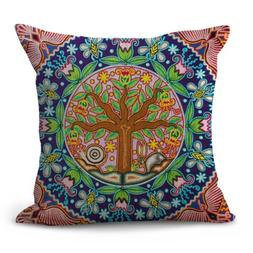 US SELLER- throw pillow Mexican Huichol Indian art mandala p