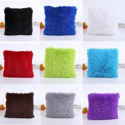 Soft Plush Fur Faux Pillow Case Bed Sofa Waist Throw Cushion