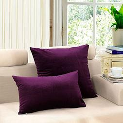 MochoHome Velvet Solid Square Decorative Throw Pillow Cover