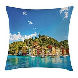 Village Decor Throw Pillow Cushion Cover by Ambesonne, Medit