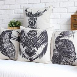 Vintage African Totem Animal Pattern Cushion Cover Peacock O