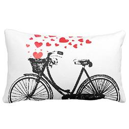 "Zazzle Vintage Bike with Love Hearts Throw Pillow 13"" x 21"""