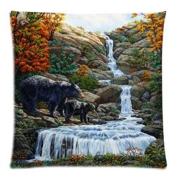 Vintage Black Bear Family In The Forest Throw Pillow Case So