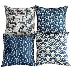 "WOMHOPE 4 Pcs - 17"" Blue and Beige Vintage Style Cotton Line"