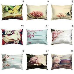 Vintage Flower Printed Throw Pillow Protector Case Cushion C
