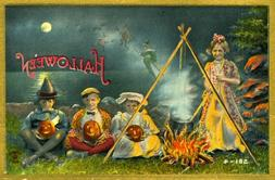 Vintage Halloween Poster Made From Circa 1910 Postcard 581-4