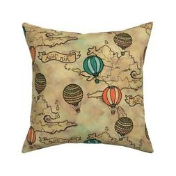 Vintage Hot Air Balloons Throw Pillow Cover w Optional Inser