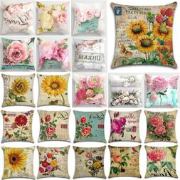 Vintage Sunflower Cotton Linen Cushion Cover Pillow Case Thr