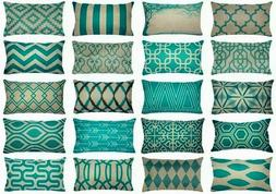 "12x20"" Turquoise Blue Vintage Sofa Couch Throw PILLOW COVER"