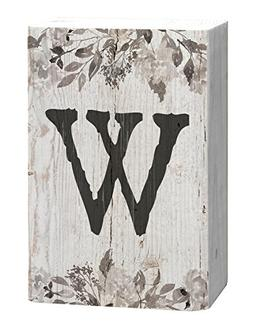 Letter W Floral White Distressed 4 x 5 Inch Solid Pine Wood