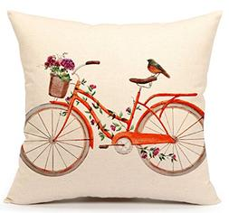 Watercolor Bird with Bicycle Vintage Home Decor Design Throw