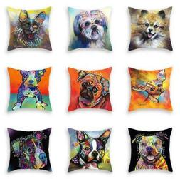Watercolor Dog Print Sofa Cushion Cover Throw Pillow Case Ho