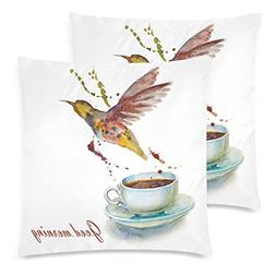 InterestPrint Watercolor Hummingbird and Tea Cups Throw Pill