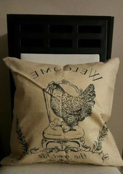 Welcome to Good Life Cottage French Hen & Chicks Linen Throw