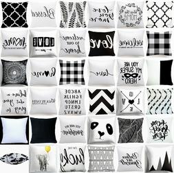 Cushion COVER White Black Soft Decorative Double Sided Throw