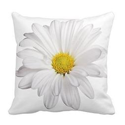 White Daisy Flower with Bright Yellow Heart Pillows Decorati