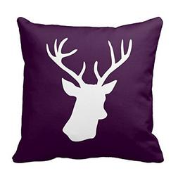 White Deer Head Silhouette - Dark Purple Throw Pillowcases C
