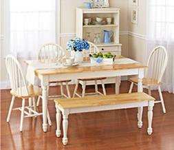 White Dining Room Set with Bench. This Country Style Dining