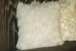 Luvfabrics White Faux Fur Cushion Pillow 18x18 2 Pieces Brig