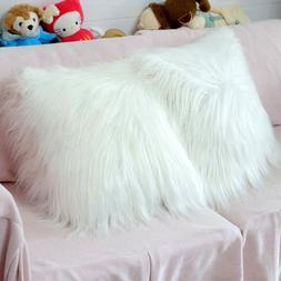 White Fluffy Faux Fur Pillow Case Cover Throw Cushion Cover