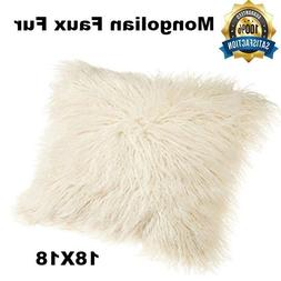 Ivory Throw Pillow Cover Case Cushion Cover Faux Fur For Hom